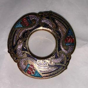 Celtic Sea Gems Land Bird Knot work Brooch Enamel